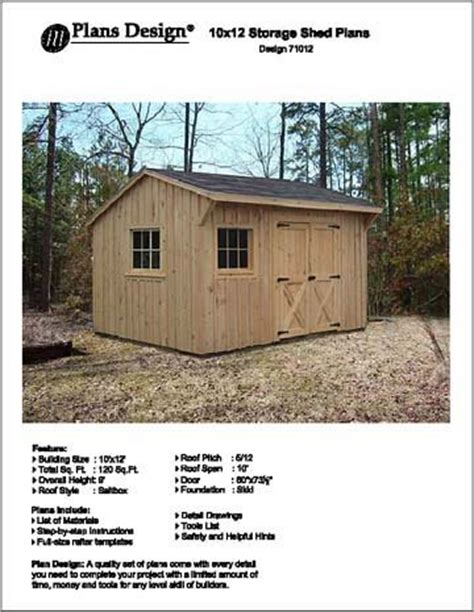 12 X 10 Shed Plans by 10 X 12 Saltbox Style Storage Shed Project Plans Design