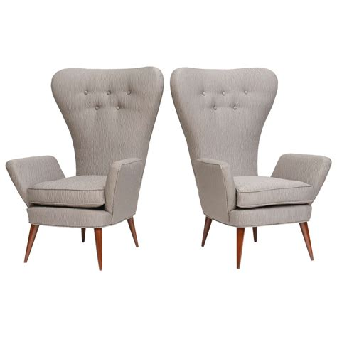 Pair of Italian Modern High Back Chairs, Italy at 1stdibs