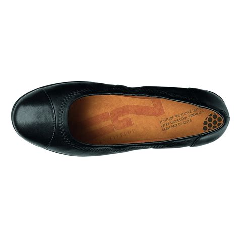 Black Soft 1 ff2 collection by fitflop f pop ballerina in soft black leather with supercomff sole from