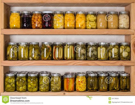 Canned Fruit Shelf by Storage Shelves With Canned Food Stock Images Image