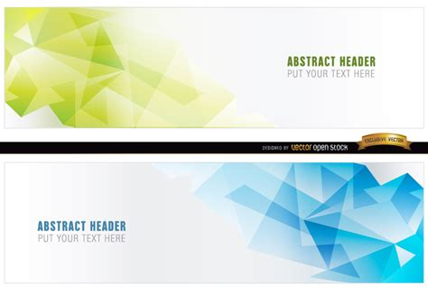 download design header footer abstract blue green polygonal headers vector download