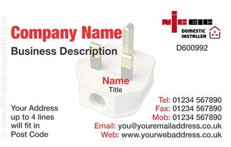 business card for niceic registered electricians ref207