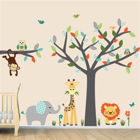 baby jungle wall stickers jungle wall decals baby room wall decals room wall decals tree decal silver mist