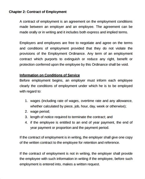 15 Useful Sle Employment Contract Templates To Download Sle Templates Free Casual Employment Contract Template