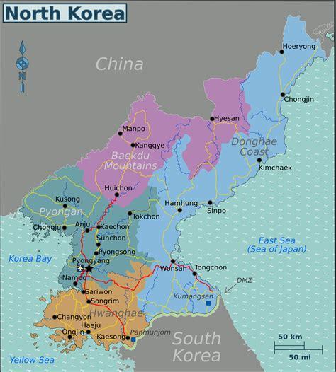 map usa and korea korea regions map