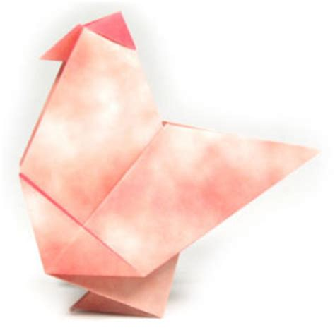 Origami Hen - how to make a traditional origami hen page 1