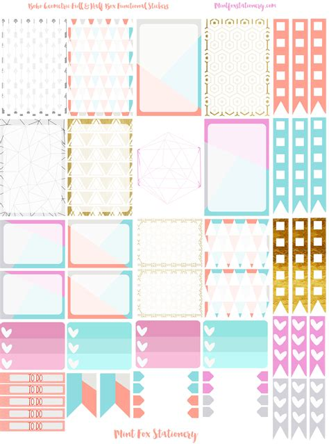 to do stickers boho geometric happy planner sticker set