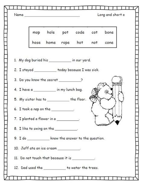 Second Grade Phonics Worksheets by Silent E Worksheet Second Grade Free Stuff