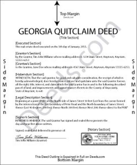 Georgia Quit Claim Deed Forms Deeds Com Miller Trust Template Florida