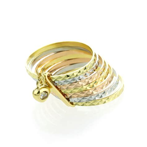 tri color gold ring accent 14k tri color gold 11mm cut 7 day