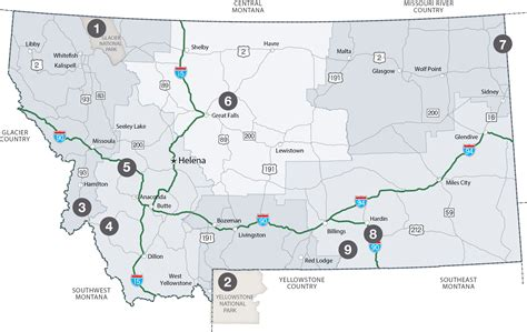 montana national parks map places to go national parks