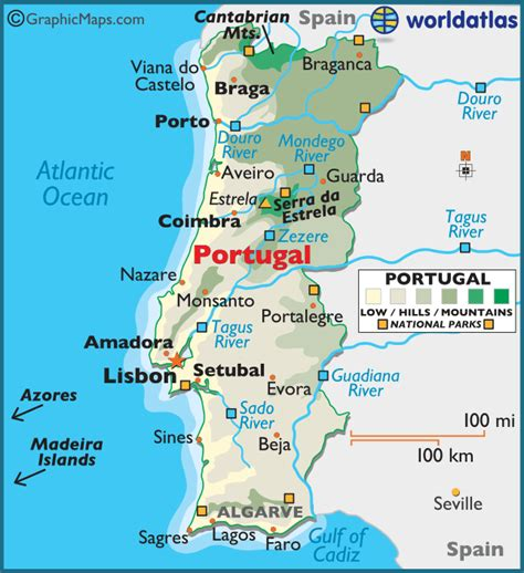 printable map portugal portugal large color map