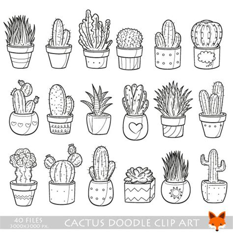 Home Design Drafting by Succulent Cactus Potter Garden Decor Home Plant Doodle