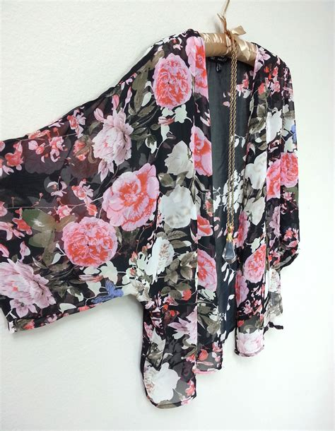 pink and black patterned kimono romantic boho sheer black floral pink and white roses