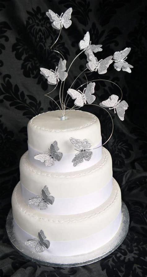 Handcrafted Cakes - handmade flutter butterfly glitter cake topper wedding