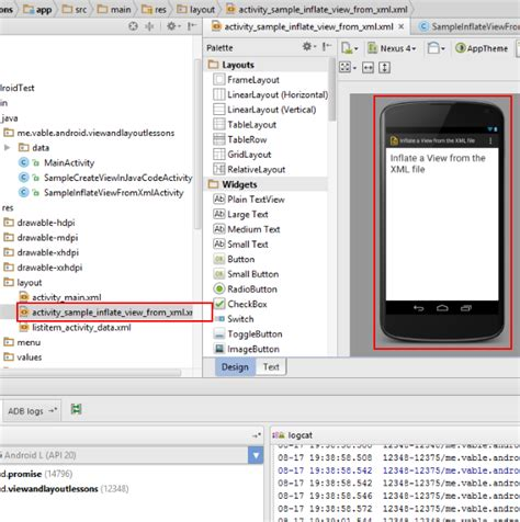 xml layout inflate let s create the screen android ui layout and controls