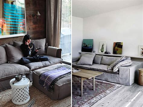charcoal couch cover why the chunky low sofa has our attention emily henderson