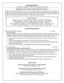 Beverage Director Sle Resume by Exle Beverage Manager Resume Sle