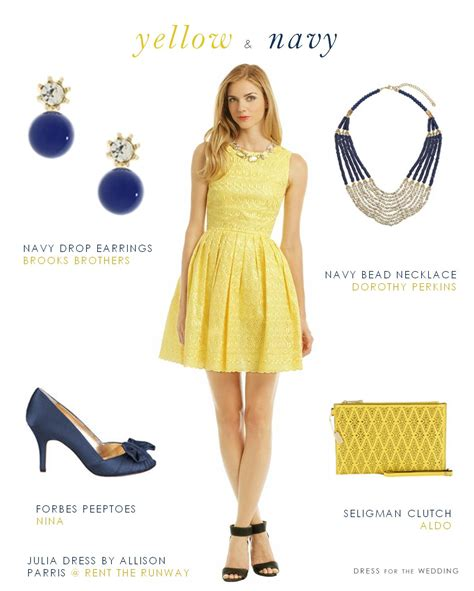 Yellow Wedding Accessories by Yellow Dress With Navy Accessories