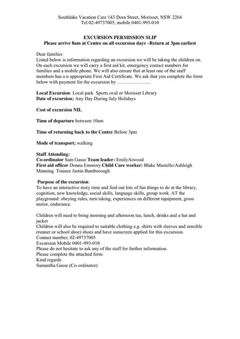 Permission Letter For Excursion Excursion Permission Slip Exle In Word And Pdf Formats