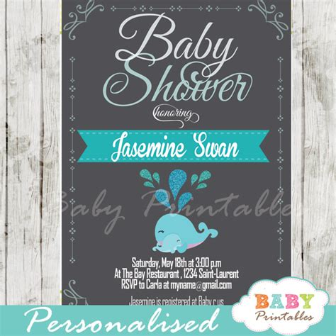 Blue Whale Baby Shower Invitations by Blue Whale Baby Shower Chalkboard Invitation Boys D181