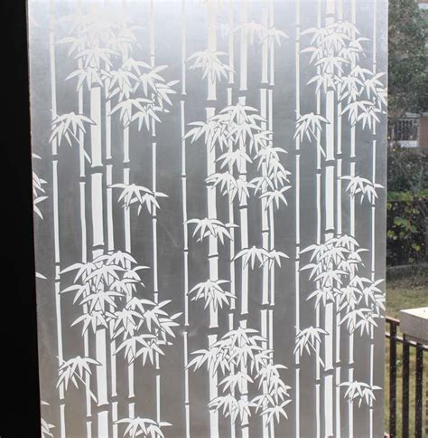 White bamboo scrub window glass film and translucidus transparent bathroom sliding door glass