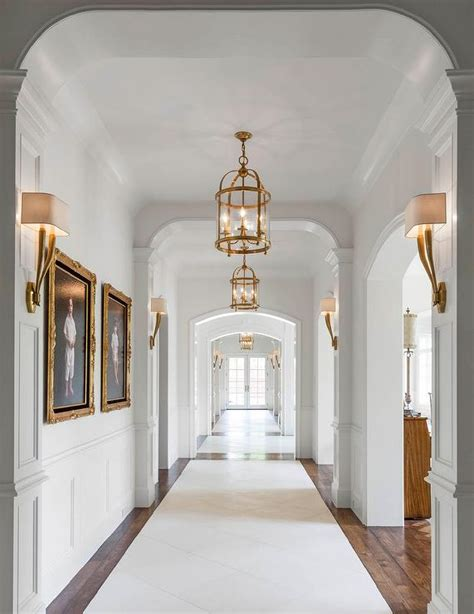 Foyer Hallway Hallway With Antique Brass Sconces And Lanterns