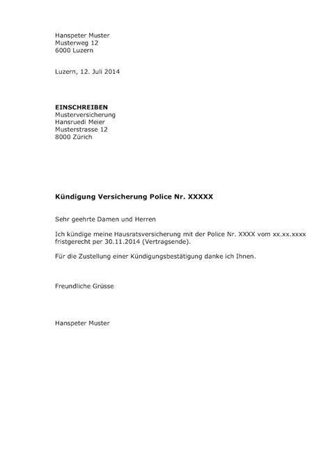haftpflicht wohnung k 252 ndigung versicherung vorlage word muster vorlage ch