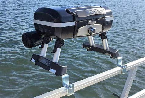 boat rail grill pontoon grill mounts that let you cook on your rails