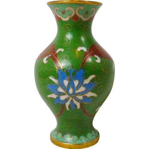 green floral miniature cloisonne brass enamel
