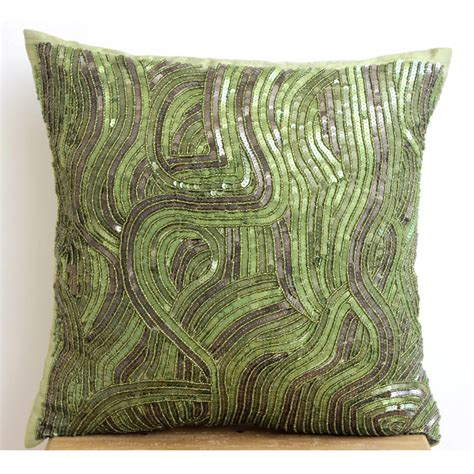 Silk Throw Pillow Covers by Decorative Throw Pillow Covers 20x20 Green Silk Embroidered