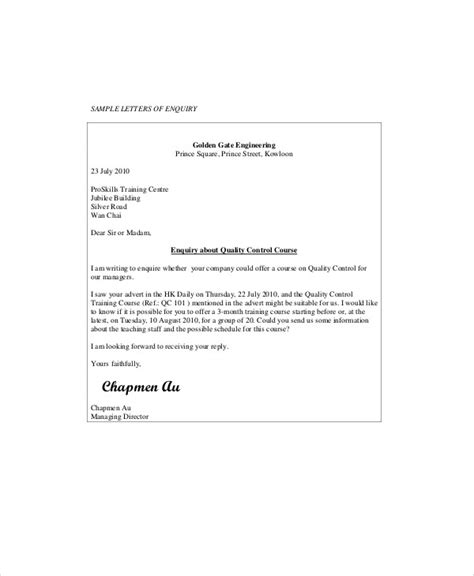 Business Letter Template Inquiry Sle Business Enquiry Letter 5 Exles In Word Pdf
