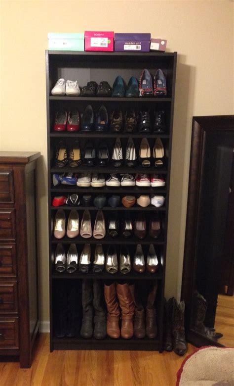 ikea billy bookshelf turned   shoe rack works