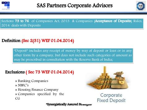 section 73 of companies act presentation on acceptance of deposits under companies act