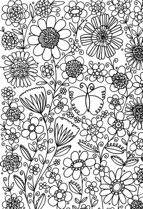 coloring pages butterfly garden flower garden free pattern download hobbycraft