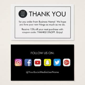 thank you for your order card template thank you for your order business cards templates zazzle