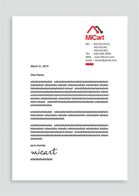business letter sles for export and import trade letterhead design project for micart a company for