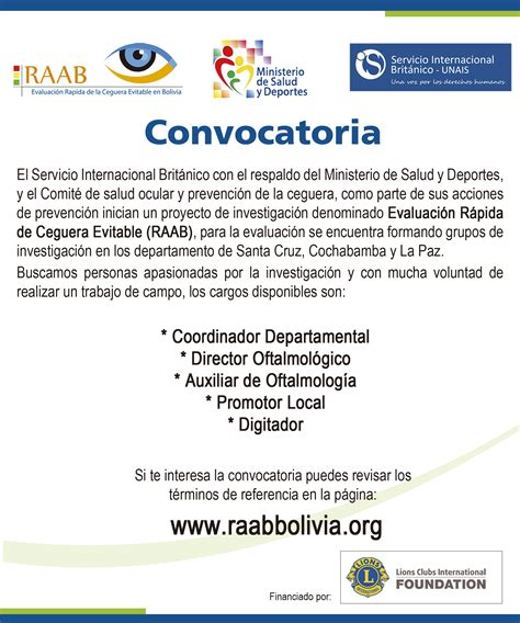 convocatorias de vacantes vigentes bolivia convocatoria equipos de trabajo evaluaci 243 n r 225 pida de la