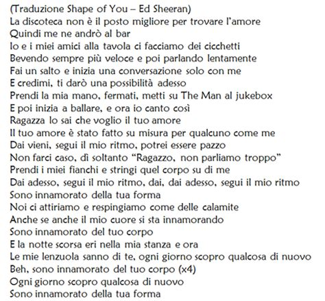 ed sheeran perfect testo shape of you di ed sheeran traduzione testo e audio del