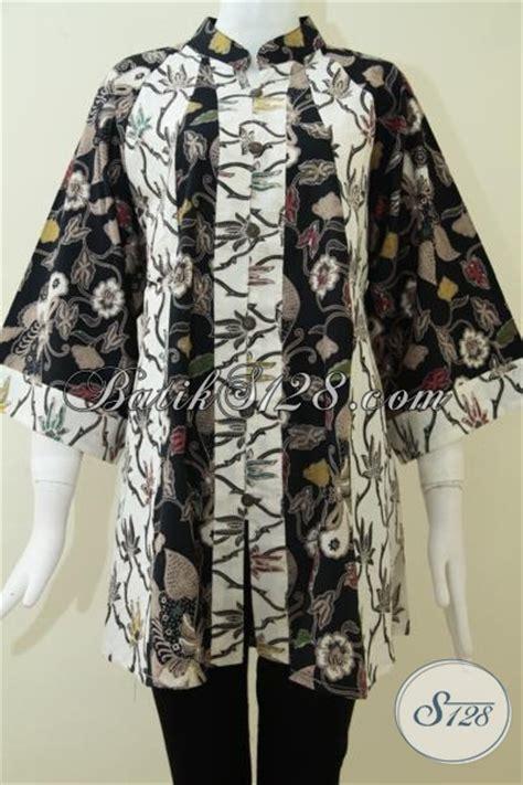 F20217004mot1 Xl Blus Batik Tulis Panjang Atasan Batik Kantor Murah atasan blus batik modern baju model fatin kombinasi warna