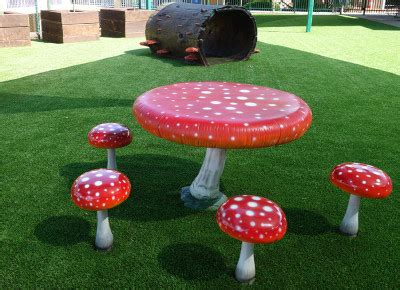 toadstool table and chairs play equipment art dinouveau