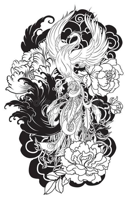 phoenix podpala ptaka z peonia kwiatem i wzrastał na tle