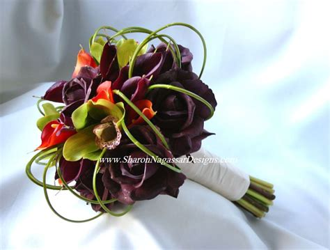 Wedding Bouquet Eggplant by Nagassar Designs Silk Real Touch Custom