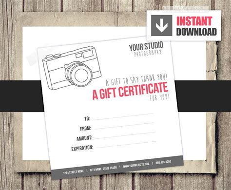 Gift Card Gift Certificate Template For Photographers Camera Photography Gift Certificate Template Free