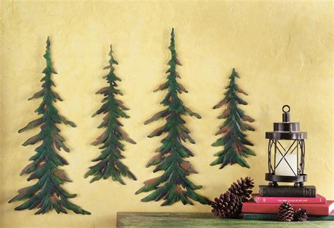 crafted evergreen pine trees metal wall art decor