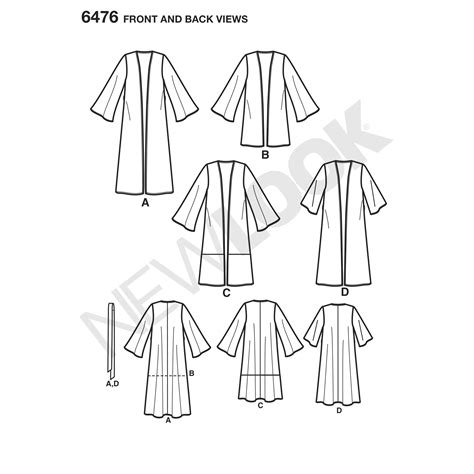 pattern new line new look 6476 misses easy kimono with length and sleeve
