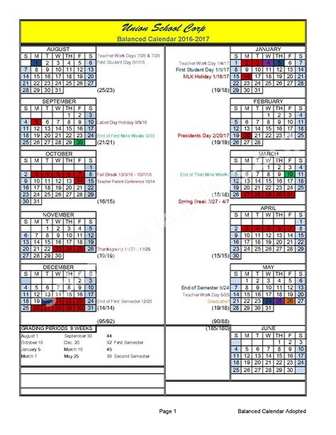 calendars for to make in school 2016 2017 school calendar calendar detail