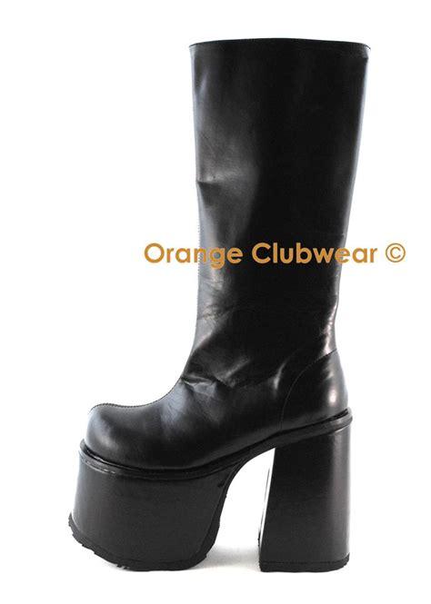 demonia mens chunky platform knee high boots ebay