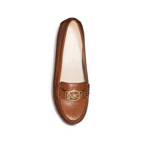 michael kors loafer michael kors molly leather loafer in brown luggage lyst