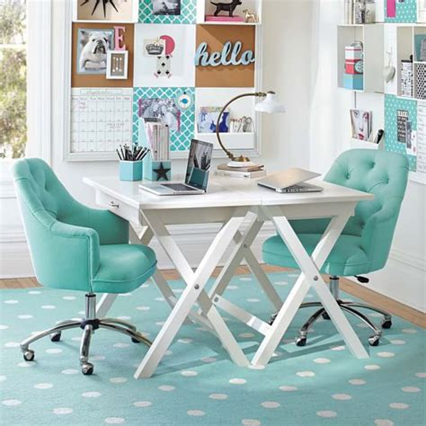 aqua blue desk accessories twill tufted desk chair pbteen